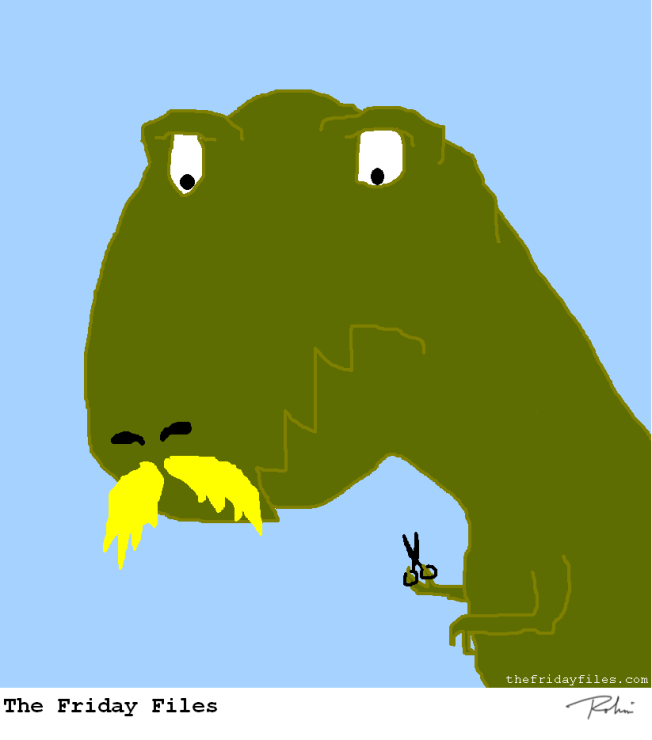 TREX NEEDS LONGER SCISSORS, OR A LONGER MUSTACHE
